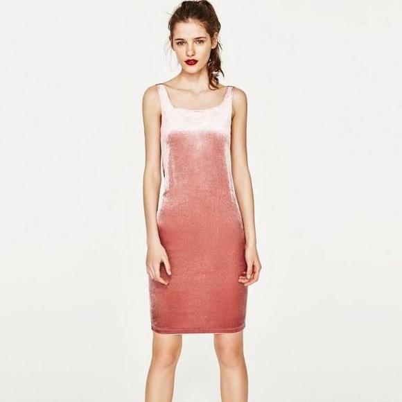 dc85e1b1 Zara Dresses | Sale Trf Pink Velvet Bodycon Midi Dress | Poshmark